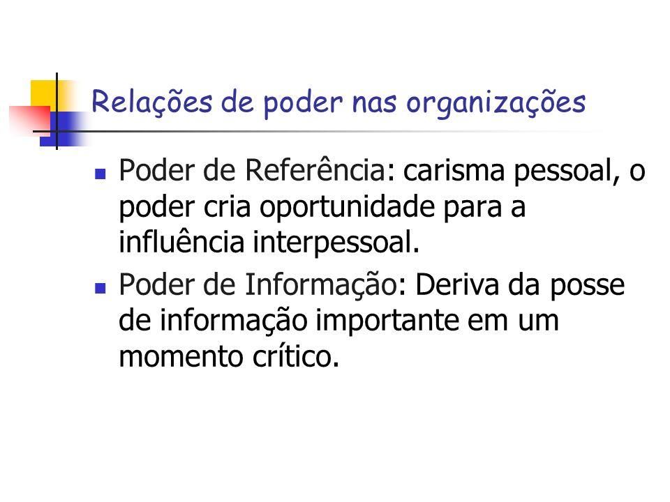 Relações de poder nas organizações Poder de Referência: carisma pessoal, o poder cria oportunidade para a influência interpessoal. Poder de Informação