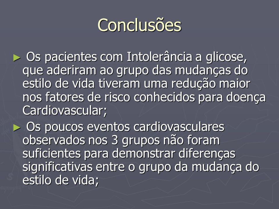 Conclusões Os pacientes com Intolerância a glicose, que aderiram ao grupo das mudanças do estilo de vida tiveram uma redução maior nos fatores de risc