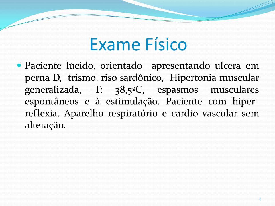 Exame Físico Paciente lúcido, orientado apresentando ulcera em perna D, trismo, riso sardônico, Hipertonia muscular generalizada, T: 38,5ºC, espasmos