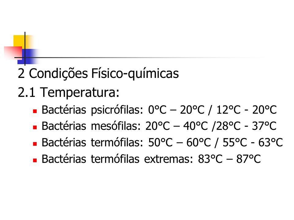 2 Condições Físico-químicas 2.1 Temperatura: Bactérias psicrófilas: 0°C – 20°C / 12°C - 20°C Bactérias mesófilas: 20°C – 40°C /28°C - 37°C Bactérias termófilas: 50°C – 60°C / 55°C - 63°C Bactérias termófilas extremas: 83°C – 87°C