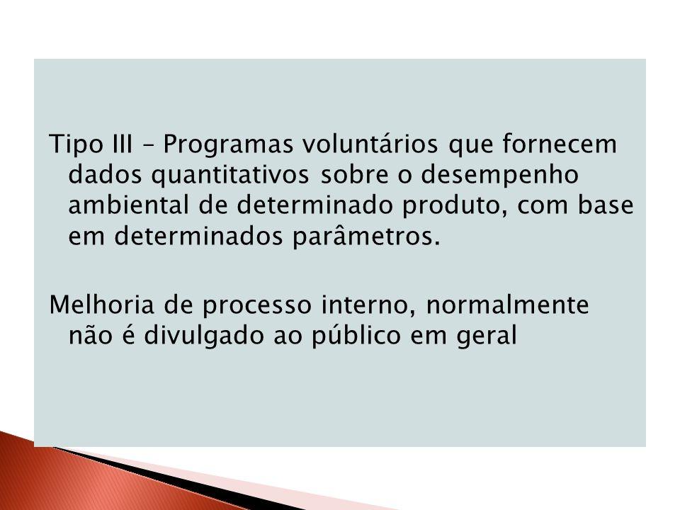 Tipo III – Programas voluntários que fornecem dados quantitativos sobre o desempenho ambiental de determinado produto, com base em determinados parâme