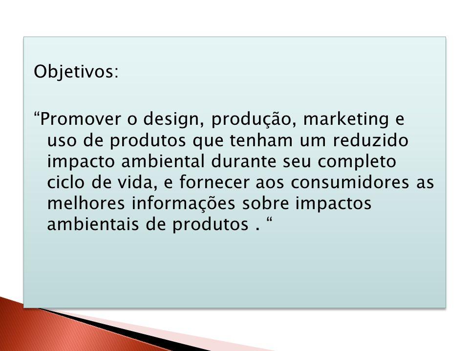 Objetivos: Promover o design, produção, marketing e uso de produtos que tenham um reduzido impacto ambiental durante seu completo ciclo de vida, e for