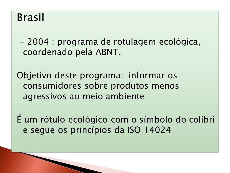 Brasil - 2004 : programa de rotulagem ecológica, coordenado pela ABNT. Objetivo deste programa: informar os consumidores sobre produtos menos agressiv