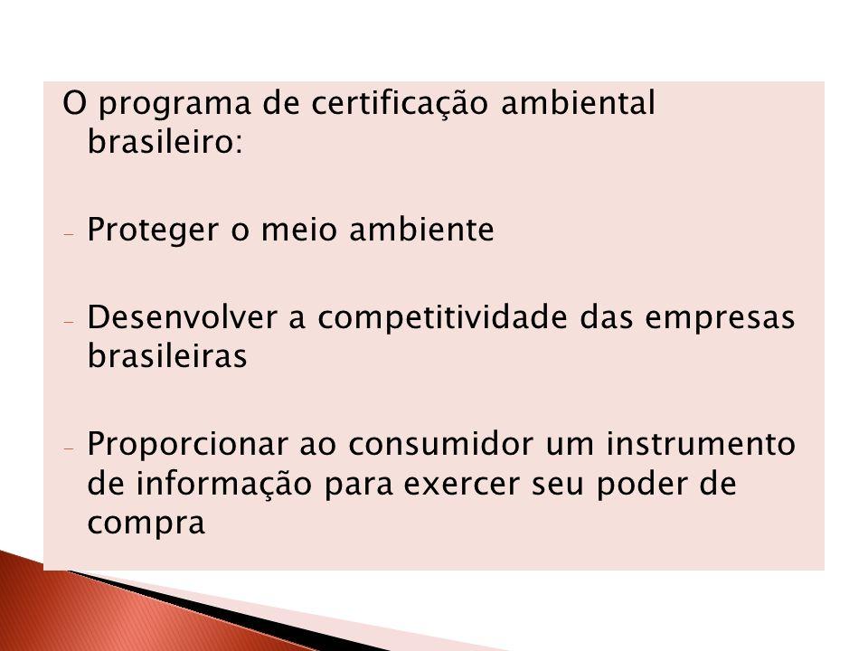 O programa de certificação ambiental brasileiro: - Proteger o meio ambiente - Desenvolver a competitividade das empresas brasileiras - Proporcionar ao