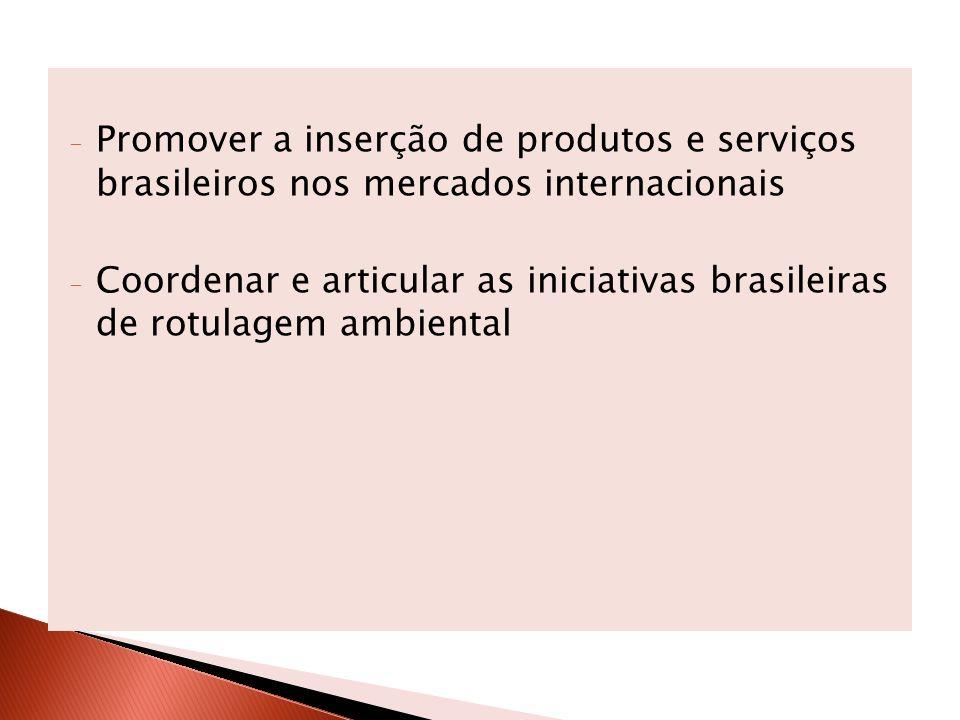 - Promover a inserção de produtos e serviços brasileiros nos mercados internacionais - Coordenar e articular as iniciativas brasileiras de rotulagem a