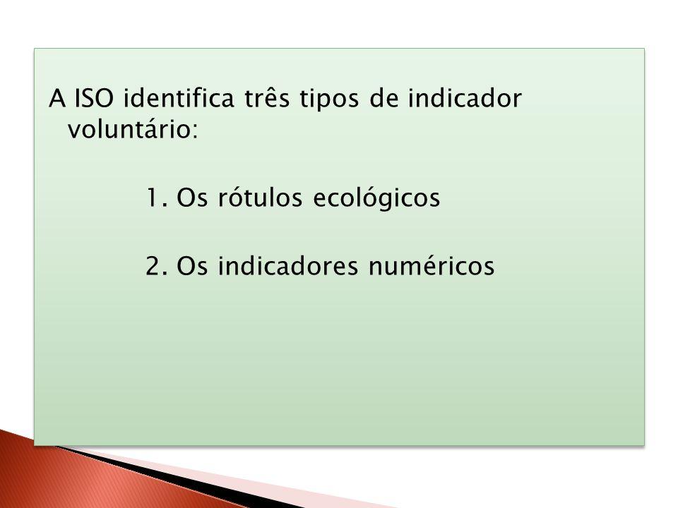 A ISO identifica três tipos de indicador voluntário: 1. Os rótulos ecológicos 2. Os indicadores numéricos A ISO identifica três tipos de indicador vol
