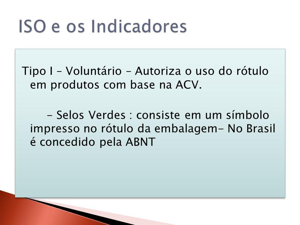 Tipo I – Voluntário – Autoriza o uso do rótulo em produtos com base na ACV. - Selos Verdes : consiste em um símbolo impresso no rótulo da embalagem- N