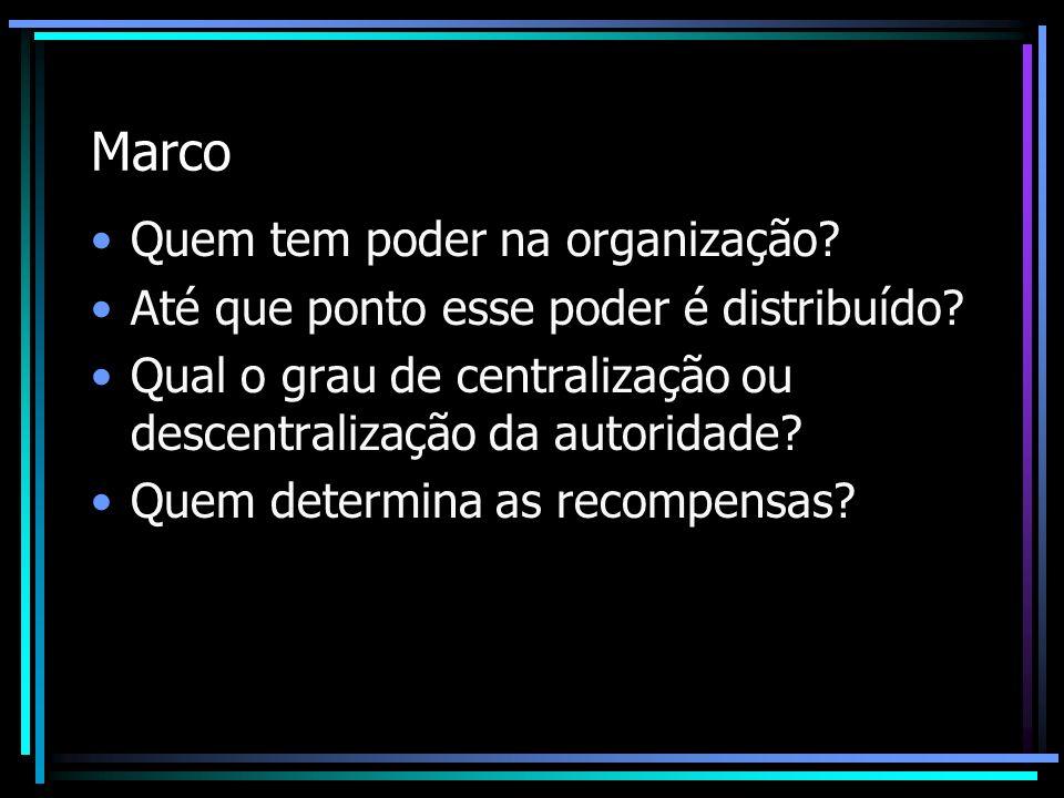 Marco Quem tem poder na organização? Até que ponto esse poder é distribuído? Qual o grau de centralização ou descentralização da autoridade? Quem dete