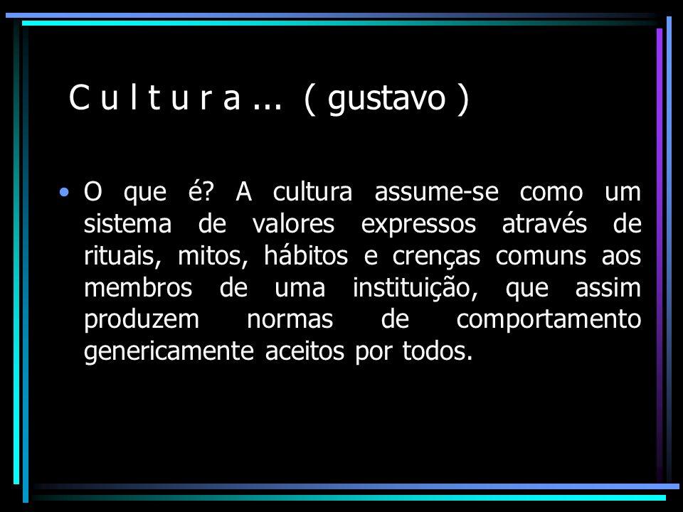 C u l t u r a... ( gustavo ) O que é? A cultura assume-se como um sistema de valores expressos através de rituais, mitos, hábitos e crenças comuns aos