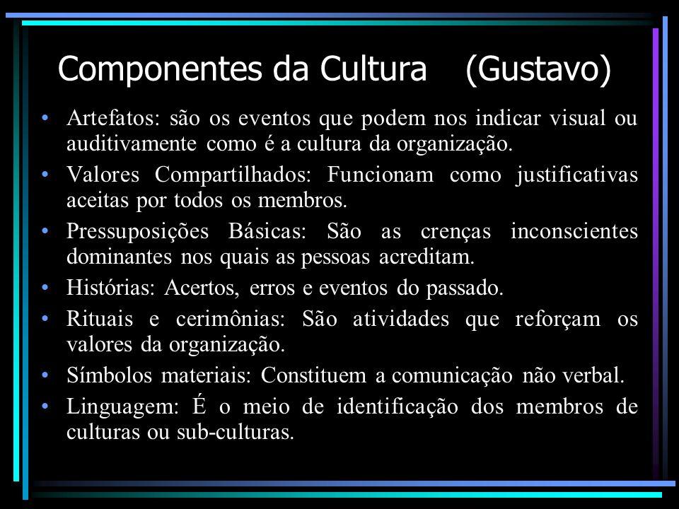 Componentes da Cultura (Gustavo) Artefatos: são os eventos que podem nos indicar visual ou auditivamente como é a cultura da organização. Valores Comp