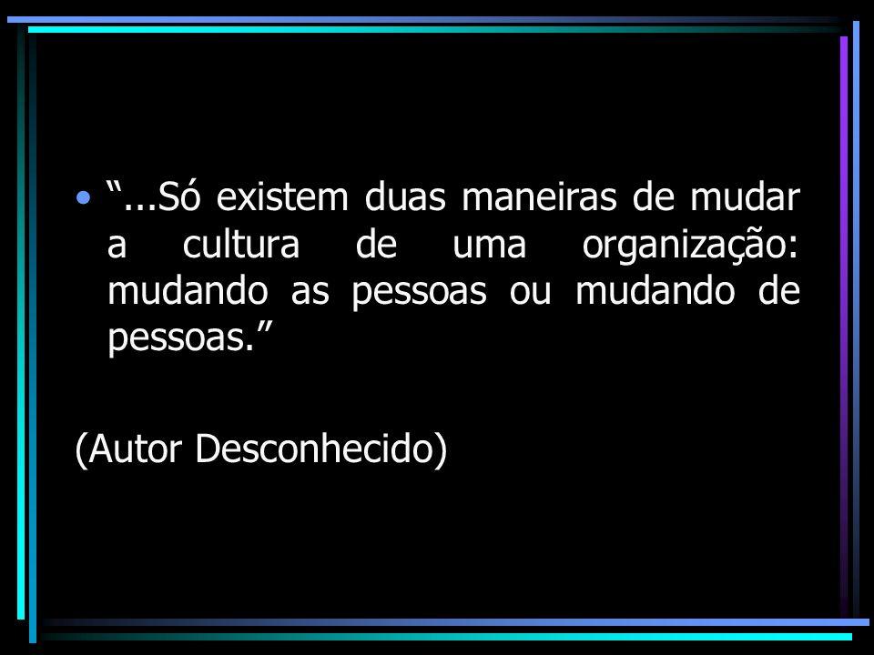 ...Só existem duas maneiras de mudar a cultura de uma organização: mudando as pessoas ou mudando de pessoas. (Autor Desconhecido)