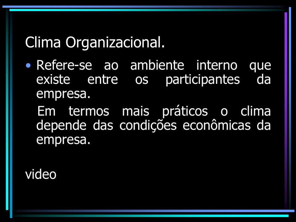 Clima Organizacional. Refere-se ao ambiente interno que existe entre os participantes da empresa. Em termos mais práticos o clima depende das condiçõe