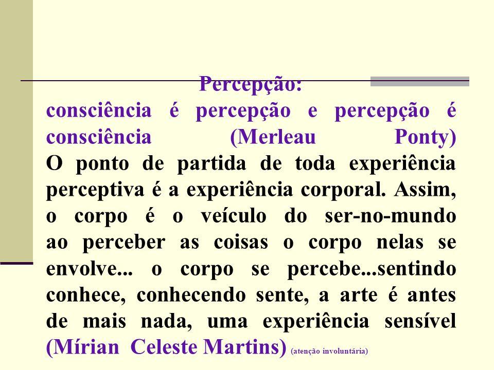 Percepção: consciência é percepção e percepção é consciência (Merleau Ponty) O ponto de partida de toda experiência perceptiva é a experiência corporal.
