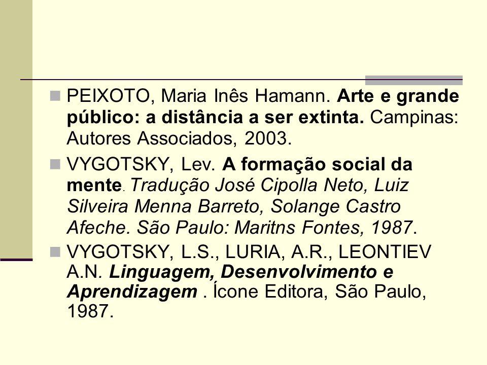 PEIXOTO, Maria Inês Hamann. Arte e grande público: a distância a ser extinta.