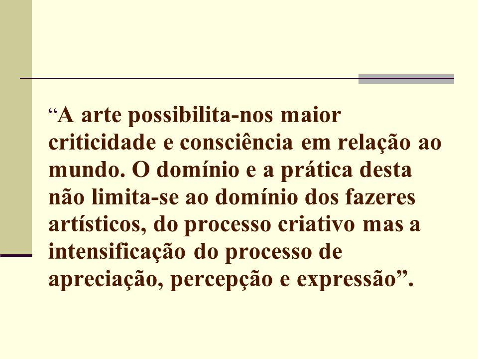 Por meio da arte o homem pode conseguir apreender a realidade, não só para suportá-la, mas – principalmente – para transformá-la, ou seja, para humanizá-la e, dialeticamente, humanizar-se (Maria Inês Hamann Peixoto)