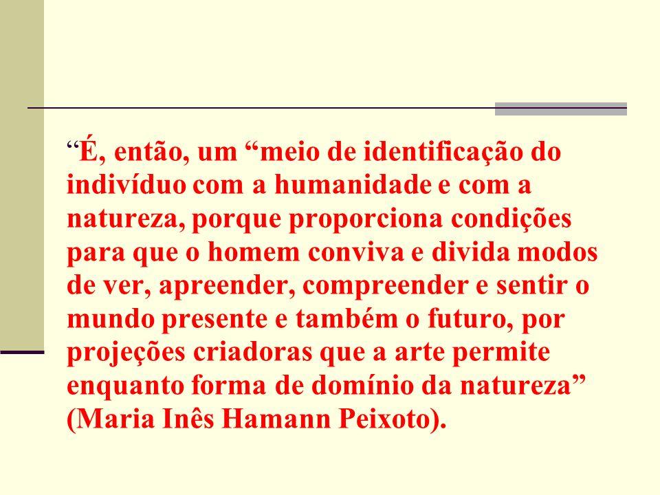 É, então, um meio de identificação do indivíduo com a humanidade e com a natureza, porque proporciona condições para que o homem conviva e divida modos de ver, apreender, compreender e sentir o mundo presente e também o futuro, por projeções criadoras que a arte permite enquanto forma de domínio da natureza (Maria Inês Hamann Peixoto).