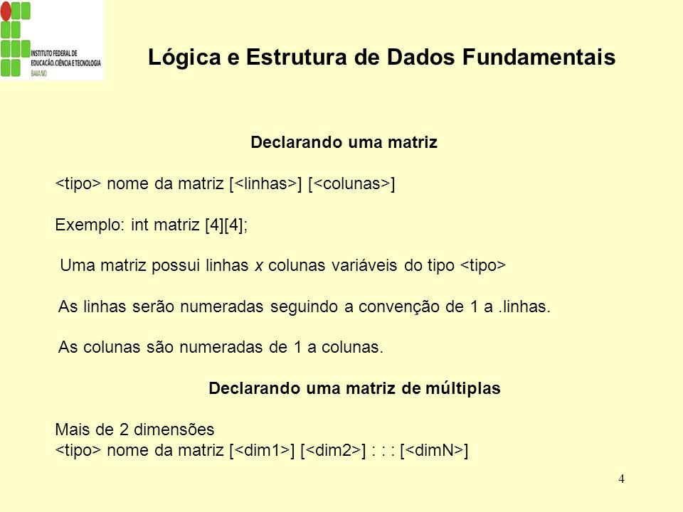 5 Lógica e Estrutura de Dados Fundamentais Acessando Matrizes Em qualquer lugar onde você e escreveria uma variavel no seu programa, você pode usar um elemento de sua matriz, da seguinte forma: Nome_da_matriz [ ] [ ] Ex: matriz [1][10]-> Refere-se a variável na 1ª linha e na 10ª coluna da matriz.