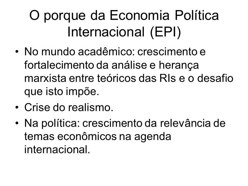 O porque da Economia Política Internacional (EPI) No mundo acadêmico: crescimento e fortalecimento da análise e herança marxista entre teóricos das RI