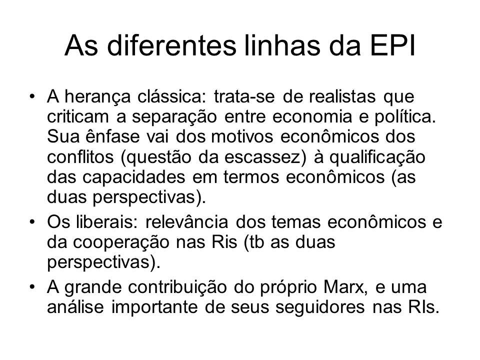 As diferentes linhas da EPI A herança clássica: trata-se de realistas que criticam a separação entre economia e política. Sua ênfase vai dos motivos e