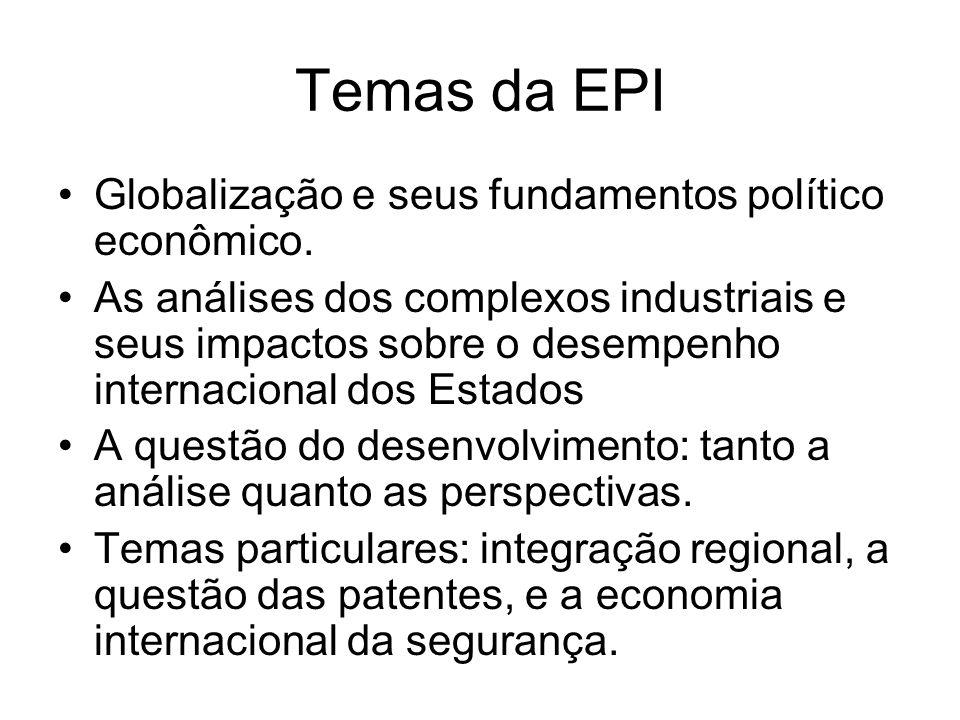 Temas da EPI Globalização e seus fundamentos político econômico. As análises dos complexos industriais e seus impactos sobre o desempenho internaciona