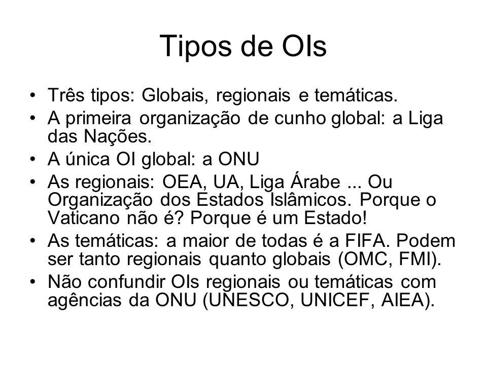 Tipos de OIs Três tipos: Globais, regionais e temáticas. A primeira organização de cunho global: a Liga das Nações. A única OI global: a ONU As region