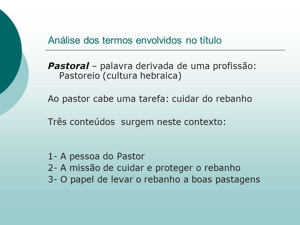 Análise dos termos envolvidos no título Pastoral – palavra derivada de uma profissão: Pastoreio (cultura hebraica) Ao pastor cabe uma tarefa: cuidar d