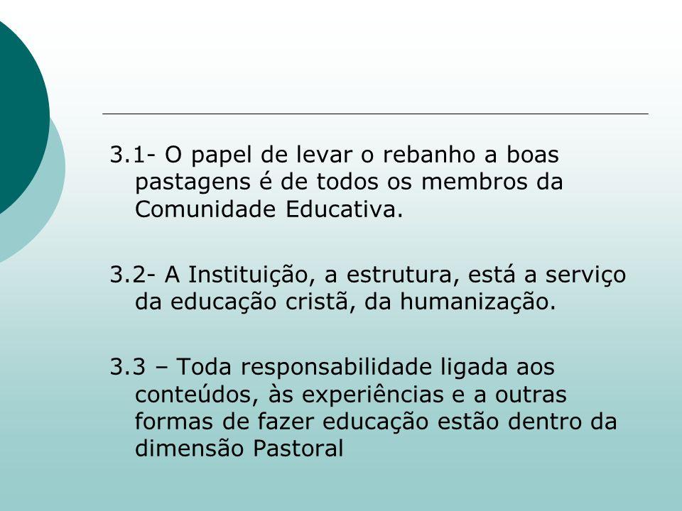 3.1- O papel de levar o rebanho a boas pastagens é de todos os membros da Comunidade Educativa. 3.2- A Instituição, a estrutura, está a serviço da edu