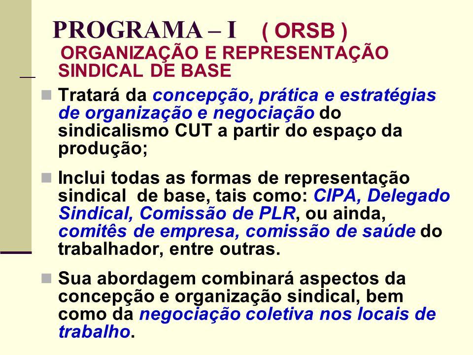 25 PROGRAMA – I ( ORSB ) ORGANIZAÇÃO E REPRESENTAÇÃO SINDICAL DE BASE Tratará da concepção, prática e estratégias de organização e negociação do sindicalismo CUT a partir do espaço da produção; Inclui todas as formas de representação sindical de base, tais como: CIPA, Delegado Sindical, Comissão de PLR, ou ainda, comitês de empresa, comissão de saúde do trabalhador, entre outras.