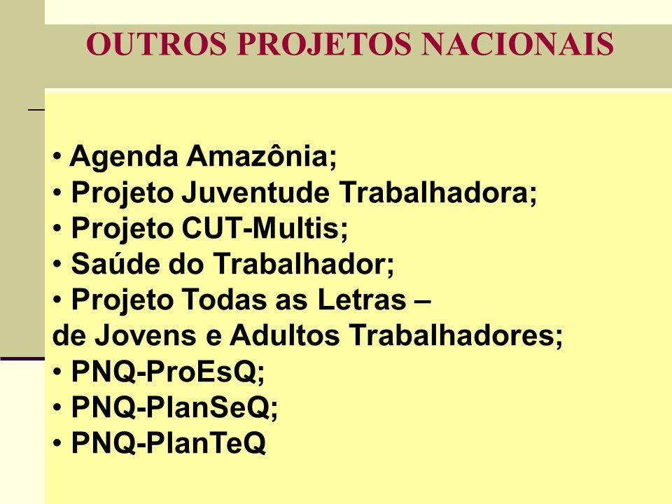 35 OUTROS PROJETOS NACIONAIS Agenda Amazônia; Projeto Juventude Trabalhadora; Projeto CUT-Multis; Saúde do Trabalhador; Projeto Todas as Letras – de Jovens e Adultos Trabalhadores; PNQ-ProEsQ; PNQ-PlanSeQ; PNQ-PlanTeQ