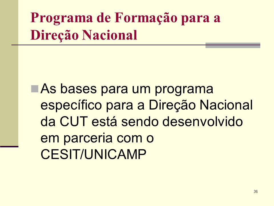 36 Programa de Formação para a Direção Nacional As bases para um programa específico para a Direção Nacional da CUT está sendo desenvolvido em parceria com o CESIT/UNICAMP