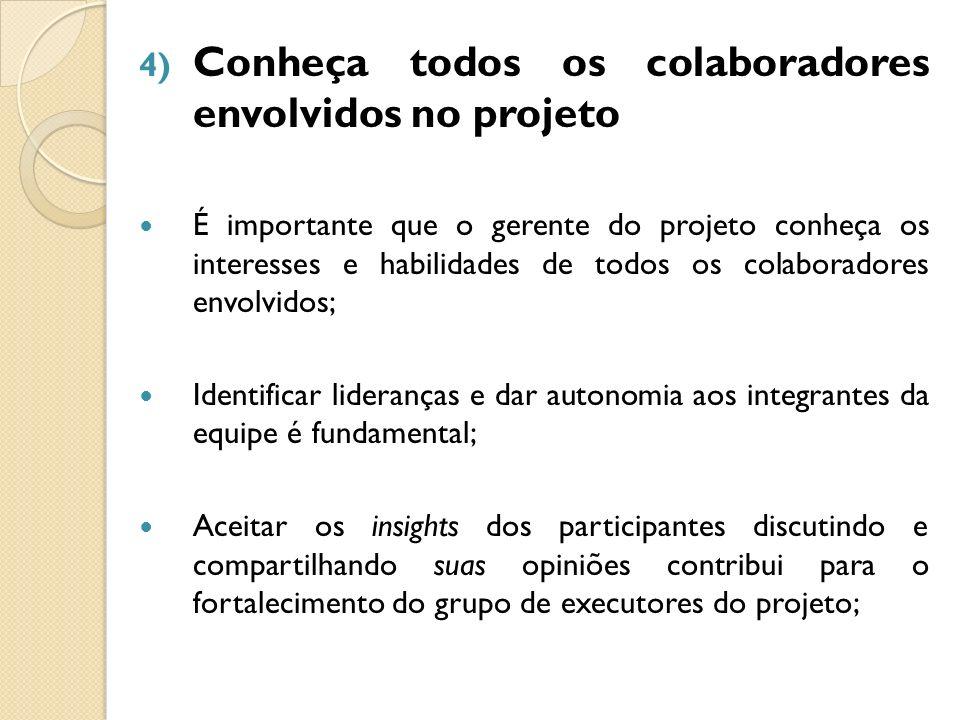 4) Conheça todos os colaboradores envolvidos no projeto É importante que o gerente do projeto conheça os interesses e habilidades de todos os colabora