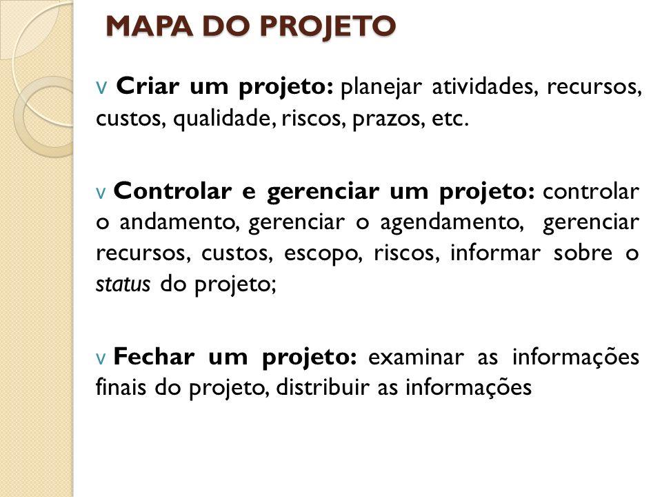 MAPA DO PROJETO v Criar um projeto: planejar atividades, recursos, custos, qualidade, riscos, prazos, etc. v Controlar e gerenciar um projeto: control