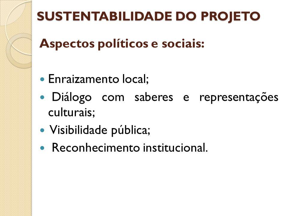 SUSTENTABILIDADE DO PROJETO Aspectos políticos e sociais: Enraizamento local; Diálogo com saberes e representações culturais; Visibilidade pública; Re