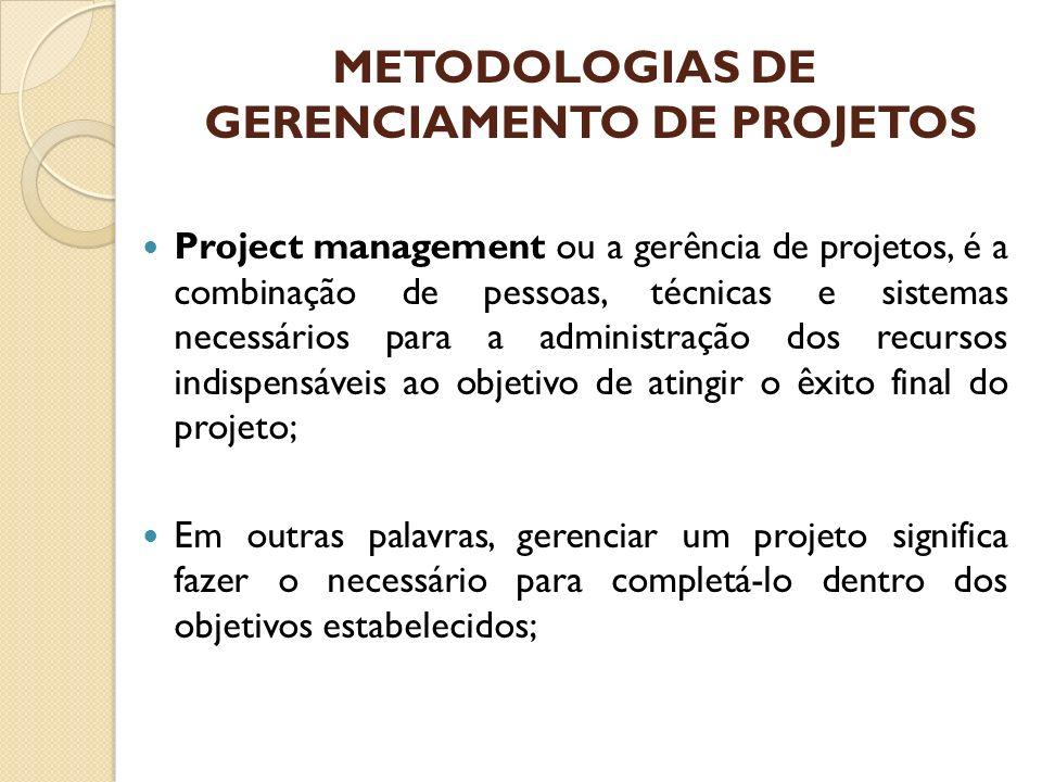 METODOLOGIAS DE GERENCIAMENTO DE PROJETOS Project management ou a gerência de projetos, é a combinação de pessoas, técnicas e sistemas necessários par