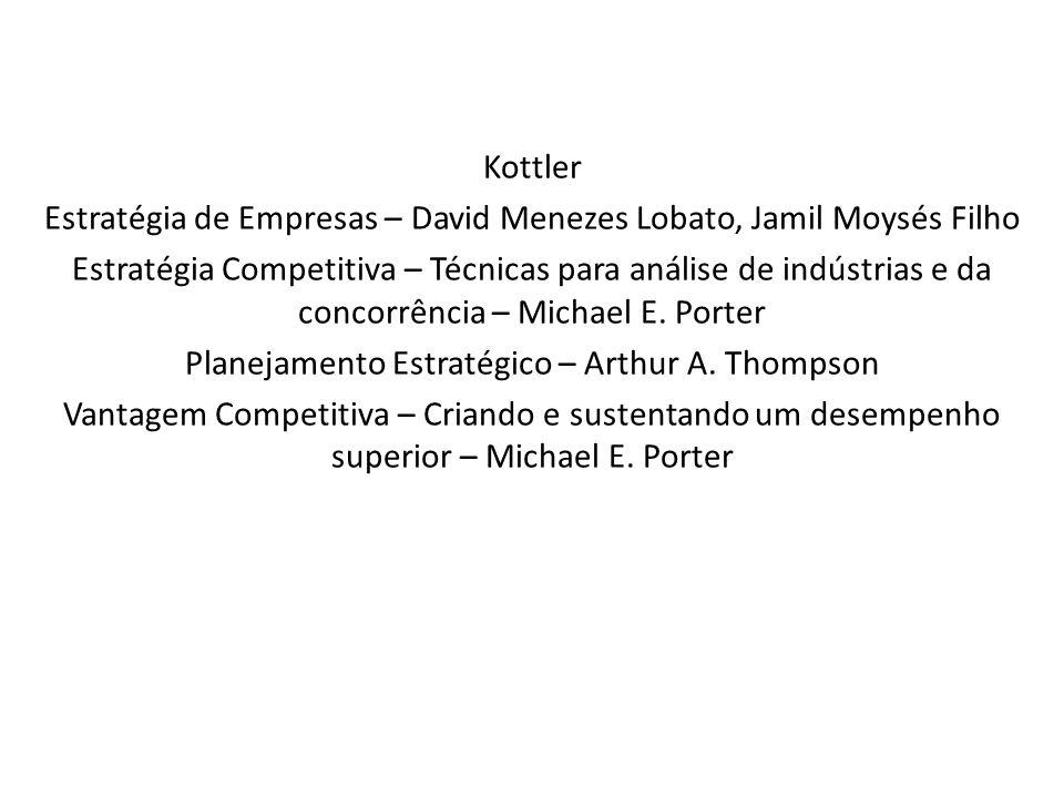 Kottler Estratégia de Empresas – David Menezes Lobato, Jamil Moysés Filho Estratégia Competitiva – Técnicas para análise de indústrias e da concorrênc