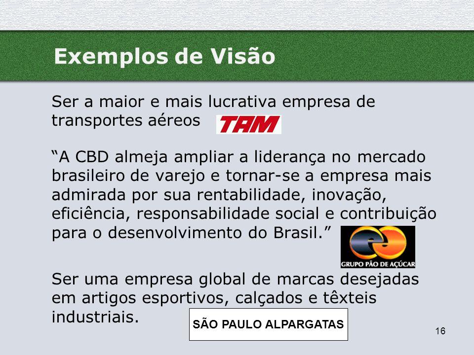 16 Exemplos de Visão Ser a maior e mais lucrativa empresa de transportes aéreos A CBD almeja ampliar a liderança no mercado brasileiro de varejo e tor
