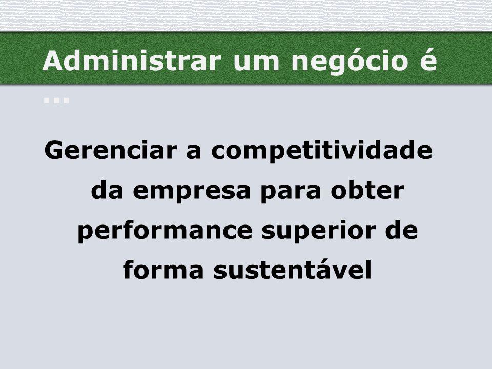 Administrar um negócio é... Gerenciar a competitividade da empresa para obter performance superior de forma sustentável
