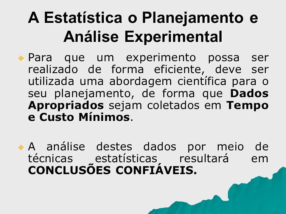A Estatística o Planejamento e Análise Experimental Para que um experimento possa ser realizado de forma eficiente, deve ser utilizada uma abordagem c