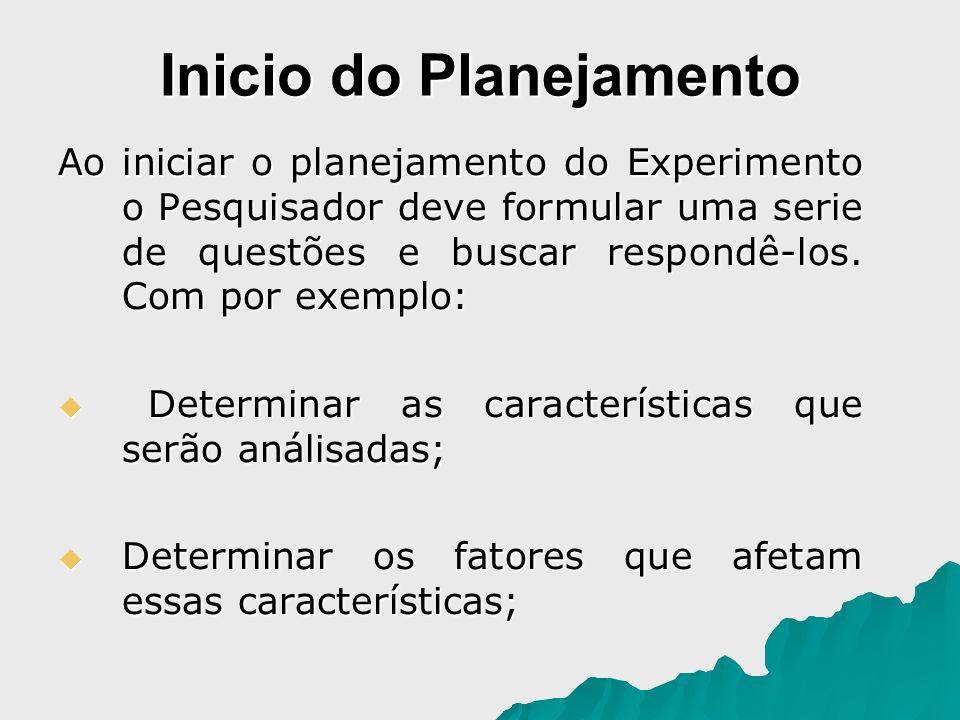 Inicio do Planejamento Ao iniciar o planejamento do Experimento o Pesquisador deve formular uma serie de questões e buscar respondê-los. Com por exemp