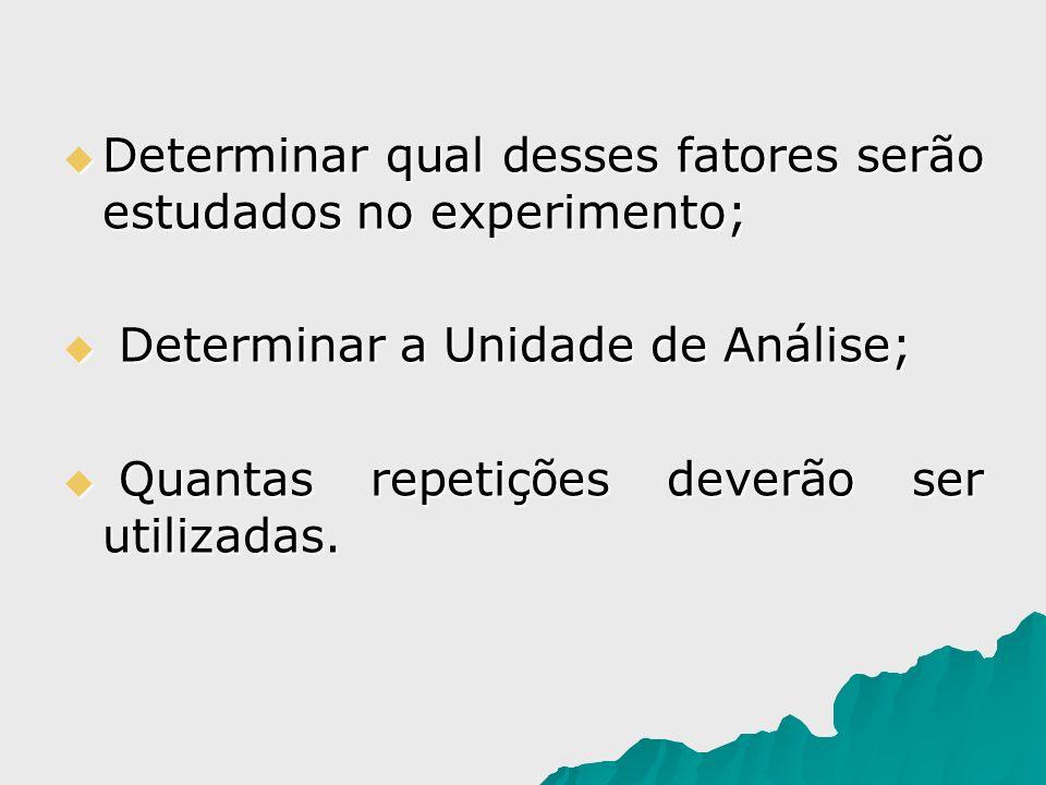 Determinar qual desses fatores serão estudados no experimento; Determinar qual desses fatores serão estudados no experimento; Determinar a Unidade de