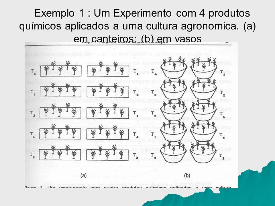 Exemplo 1 : Um Experimento com 4 produtos químicos aplicados a uma cultura agronomica. (a) em canteiros; (b) em vasos Exemplo 1 : Um Experimento com 4