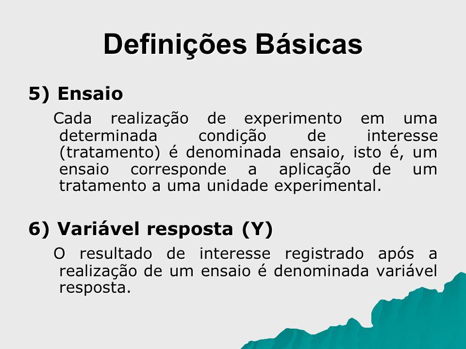 Definições Básicas 5) Ensaio Cada realização de experimento em uma determinada condição de interesse (tratamento) é denominada ensaio, isto é, um ensa