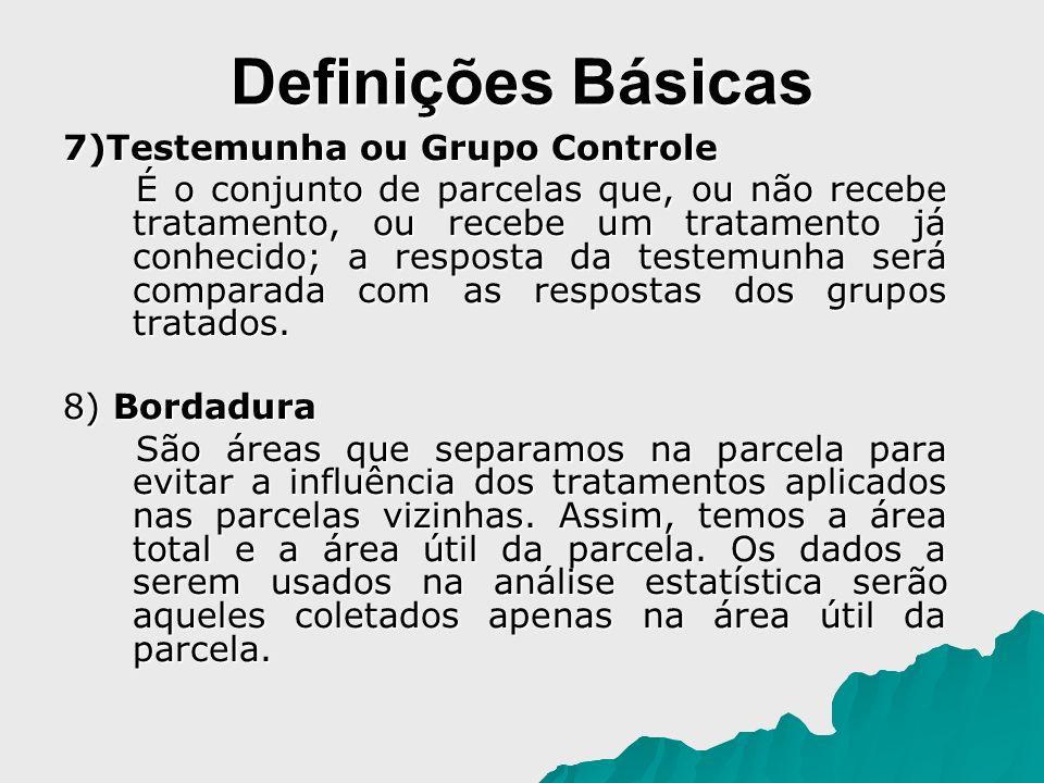 Definições Básicas 7)Testemunha ou Grupo Controle É o conjunto de parcelas que, ou não recebe tratamento, ou recebe um tratamento já conhecido; a resp