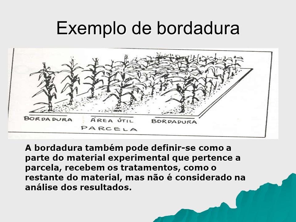 Exemplo de bordadura A bordadura também pode definir-se como a parte do material experimental que pertence a parcela, recebem os tratamentos, como o r