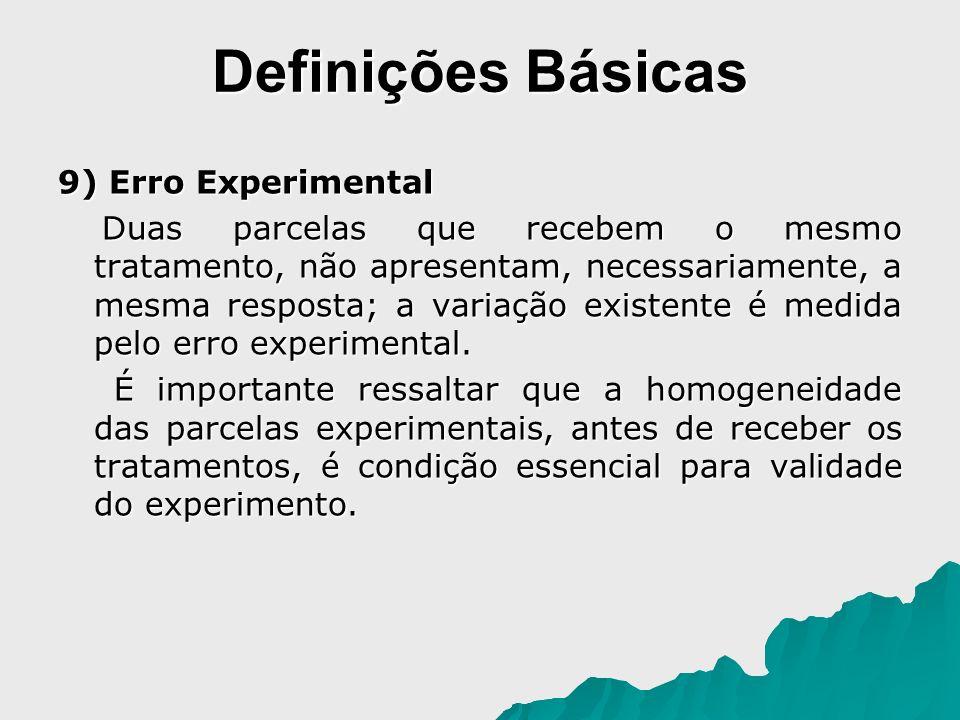 Definições Básicas 9) Erro Experimental Duas parcelas que recebem o mesmo tratamento, não apresentam, necessariamente, a mesma resposta; a variação ex