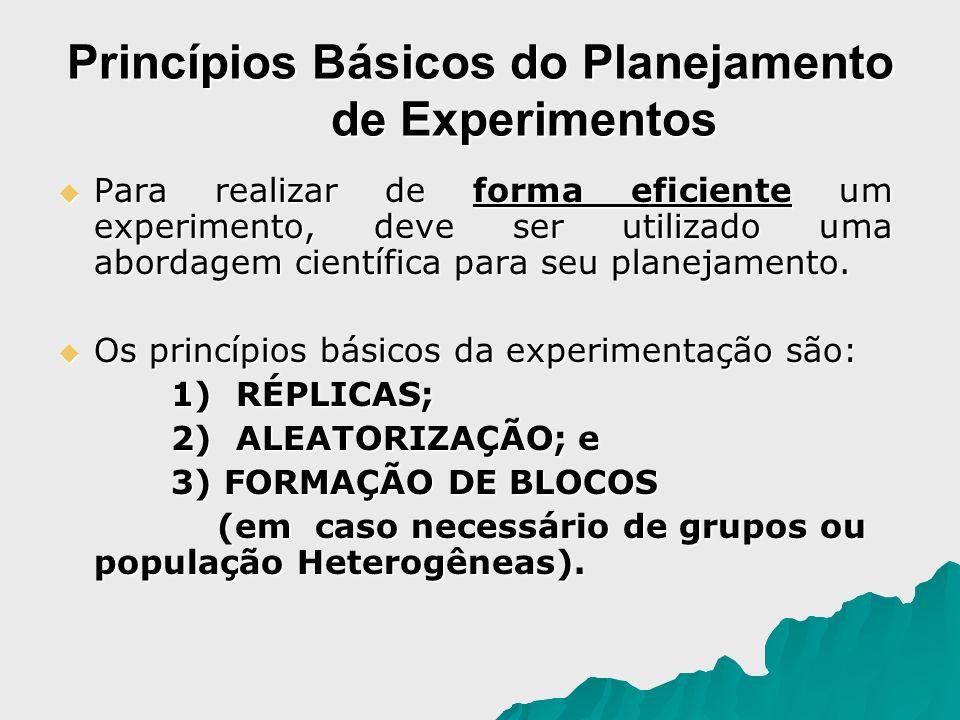 Princípios Básicos do Planejamento de Experimentos Para realizar de forma eficiente um experimento, deve ser utilizado uma abordagem científica para s
