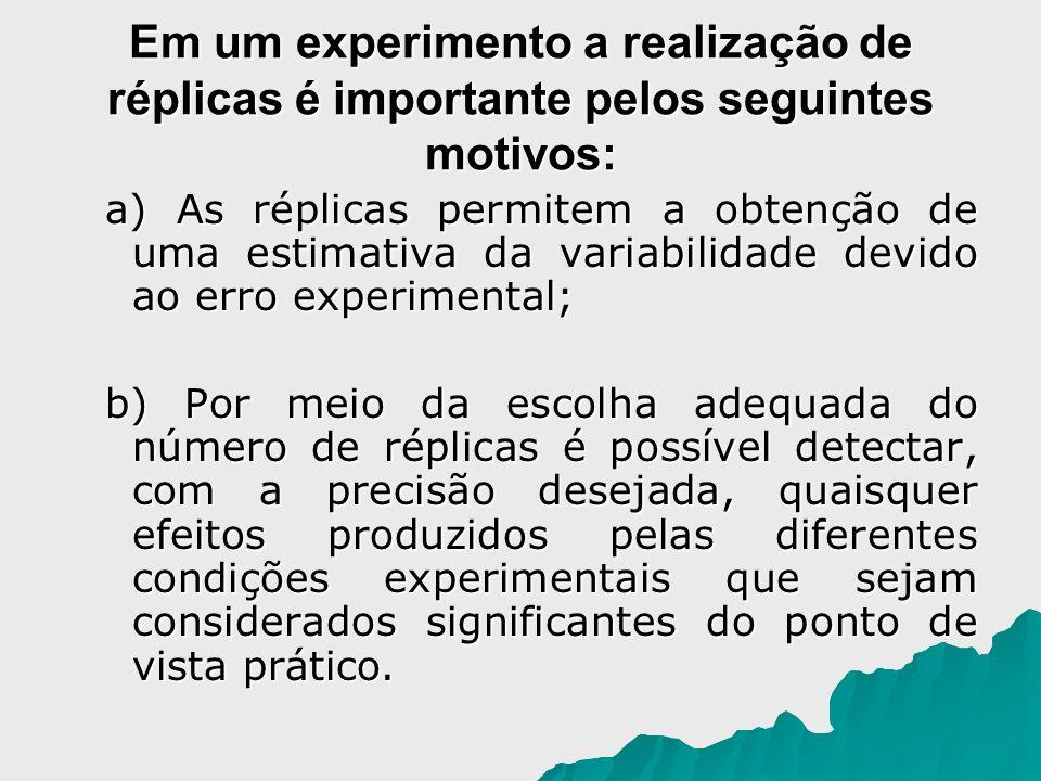 a) As réplicas permitem a obtenção de uma estimativa da variabilidade devido ao erro experimental; a) As réplicas permitem a obtenção de uma estimativ