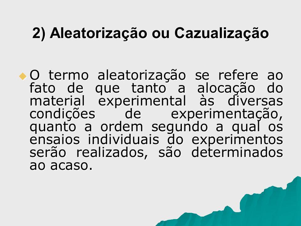 2) Aleatorização ou Cazualização O termo aleatorização se refere ao fato de que tanto a alocação do material experimental às diversas condições de exp