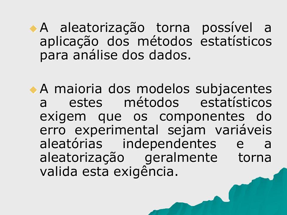 A aleatorização torna possível a aplicação dos métodos estatísticos para análise dos dados. A aleatorização torna possível a aplicação dos métodos est