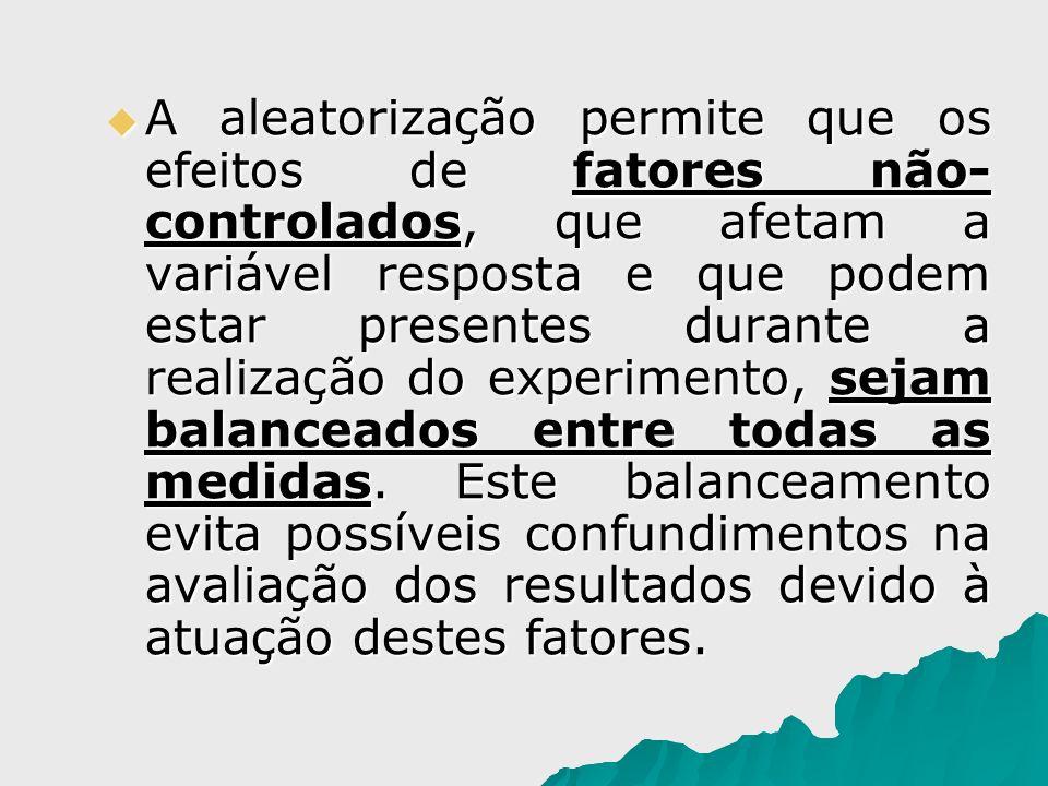 A aleatorização permite que os efeitos de fatores não- controlados, que afetam a variável resposta e que podem estar presentes durante a realização do